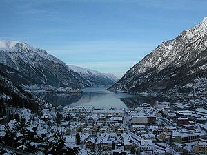 Sørfjorden (Hardanger) - View of the fjord, seen from Odda