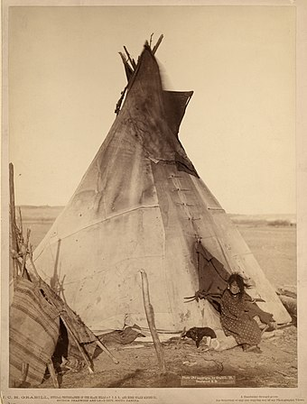 Young Oglala Lakota girl in front of tipi with puppy beside her, probably on or near Pine Ridge Indian Reservation, South Dakota Oglala girl in front of a tipi.jpg