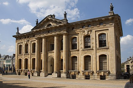 The Clarendon Building is home to many senior Bodleian Library staff and previously housed the university's own central administration. Old Clarendon Building 3 (5649801503).jpg