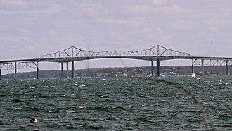 Jamestown, Rhode Island - The original Jamestown Bridge, which connected Jamestown with North Kingstown, Rhode Island from 1940 until its demolition in 2006