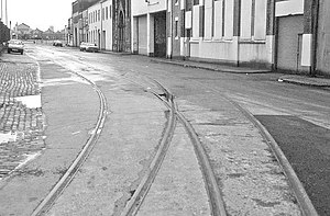 Sailortown, Belfast - Remnants of old railway on Princes Dock Street.