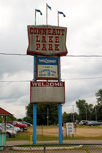 Conneaut Lake Park - Highway sign (2012)