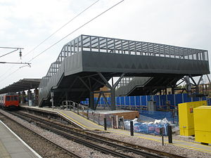 West Ham station - The footbridge that served the Olympic exit to The Greenway in 2012.