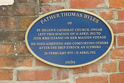 Photo of Thomas Byles blue plaque