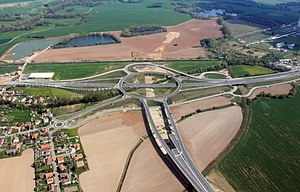 Roundabout interchange - Motorways crossing in Czech Republic.