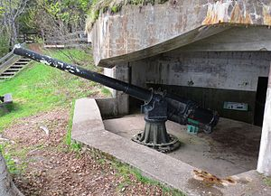 Fort Ramsay - One of two surviving QF 4.7-inch B Mark IV* guns at Fort Péninsule, Forillon National Park, Quebec.