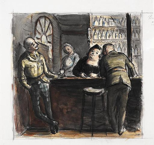 Original caption- An amusing drawing of soldiers joking with the barmaid. It was drawn by Captain Ardizzone after he had returned to this country with the BEF on the conclusion of the Withdrawal. Art.IWMARTLD331
