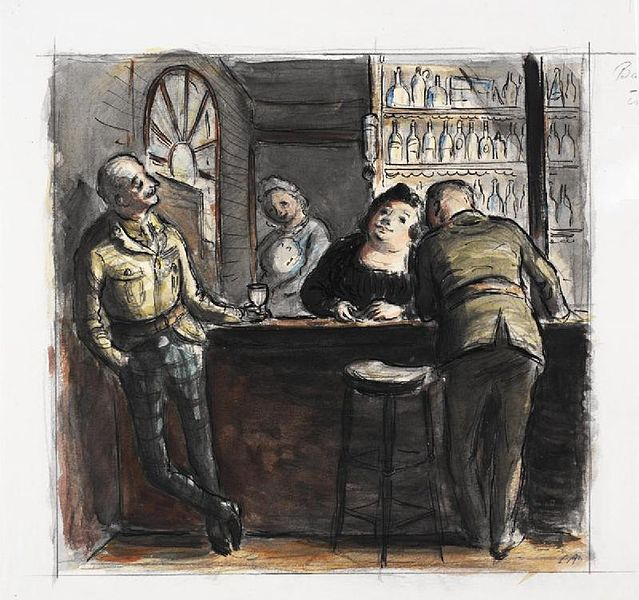 File:Original caption- An amusing drawing of soldiers joking with the barmaid. It was drawn by Captain Ardizzone after he had returned to this country with the BEF on the conclusion of the Withdrawal. Art.IWMARTLD331.jpg