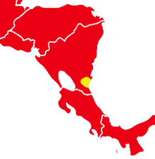 Map of Central America, marked yellow in southeastern Nicaragua and red elsewhere