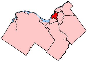 Ottawa Centre - Ottawa Centre in relation to other electoral districts in Ottawa (2003 boundaries)