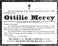 Ottilie Mercy death notice, 1916.jpg