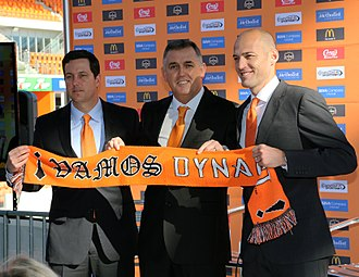 Owen Coyle - Owen Coyle (centre) is introduced as Houston Dynamo Head Coach, 9 December 2014