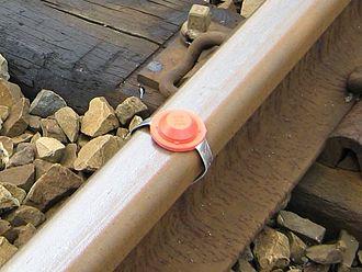 Detonator (railway) - A detonator on a railway line in Belgium