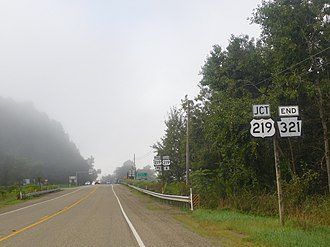 Pennsylvania Route 321 - PA 321 heading south to US 219 in Wilcox