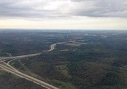 Vue aérienne vers le sud-ouest sur la route 576