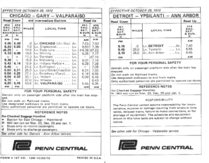 Calumet (train) - 1972 Penn Central timetable showing the Valparaiso local service and the Detroit-Ann Arbor commuter service