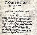 Page 01, index of Computus Runicus by Ole Worm (1626).jpg