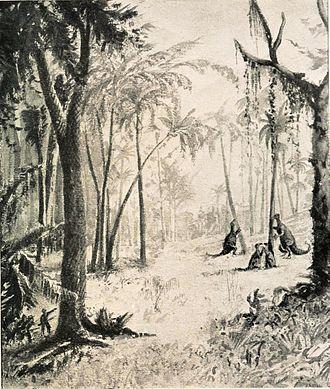 The Lost World (Conan Doyle novel) - The group encountering Iguanodon