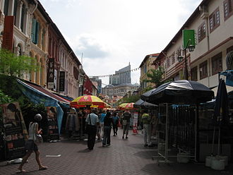Singapore in the Straits Settlements - Restored shophouses running along a street in Chinatown, which reflects the Victorian architecture of buildings built in Singapore during the earlier colonial period, with styles such as the painted ladies.