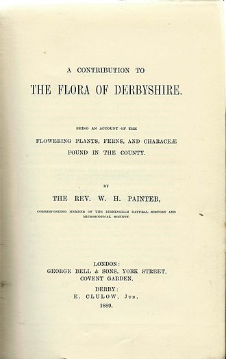 William Hunt Painter - Painter's 1889 Flora of Derbyshire