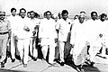 Pandit Ram Kishore Shukla with Motilal Vora shortly after landing at Bhopal airport in 1989.JPG