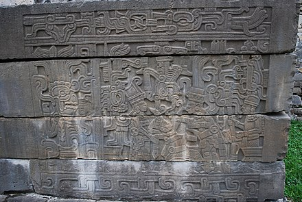 One of a series of murals from the South Ballcourt at El Tajin, showing the sacrifice of a ballplayer Panel9SBCTajin.JPG