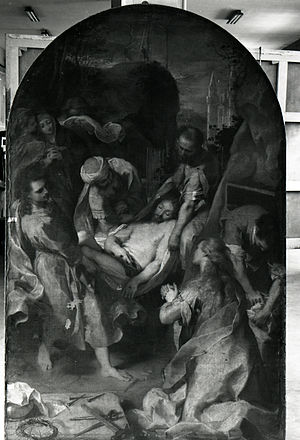 Chiesa della Croce, Senigallia - Christ taken to the Tomb by Federico Barocci, photographed by Paolo Monti during a restoration in 1972