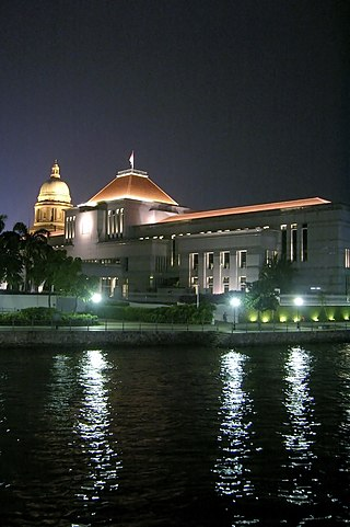 Picture House Cineplex Singapore on Parliament House By The Singapore River With The Dome Of The Old