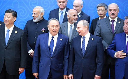 Nazarbayev and Russian President Vladimir Putin during the 2017 SCO Council of Heads of State meeting in Astana. Participants in the SCO Council of Heads of State meeting in expanded format, 2017.jpg