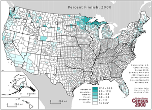 Finnish Americans - A map showing concentrations of Finnish American ethnicity in the United States.