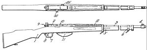 Pedersen rifle - Pedersen's toggle-delayed blowback rifle in caliber .276 Pedersen
