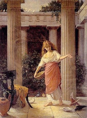"Peristyle - ""In the Peristyle"" John William Waterhouse (1849-1917). Rochdale Art Gallery, Rochdale, England."