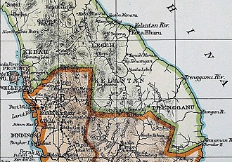 Kingdom of Reman - A 19th century map of Reman, showing the location in the interior of the upper Peninsula. A landlocked kingdom, it is surrounded by clockwise from north: the Malay states of Jala, Legeh, Perak and Kedah respectively. Kota Baru, the administrative capital of the kingdom can also be seen in the map. The territory adopted the Siamese flag prior to its partition in 1909.