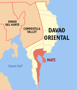 Map of Davao Oriental showing the location of Mati City