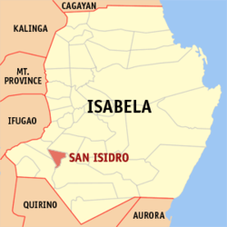 Map of Isabela showing the location of San Isidro