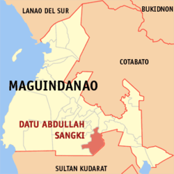Map of Maguindanao showing the location of Datu Abdullah Sangki