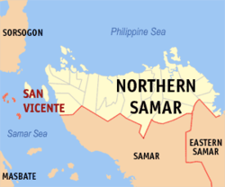 Map of Northern Samar with San Vicente highlighted