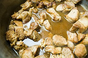 Philippine adobo - Pork adobo cooked in a kawali