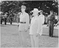 Photograph of President Truman and French President Charles de Gaulle, standing at attention during welcoming... - NARA - 199187.tif