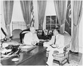 Photograph of President Truman conferring with Ecuadoran President Galo Plaza in the Oval Office. - NARA - 200305.tif