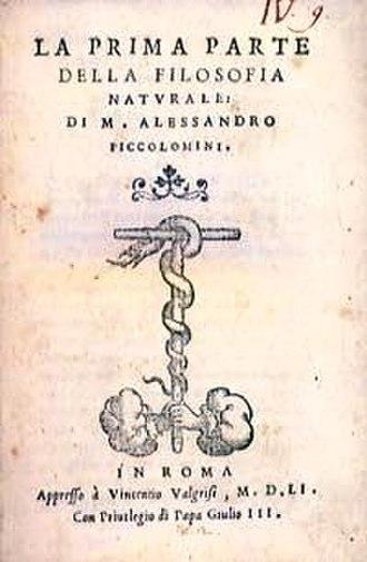 Alessandro Piccolomini - Cover of Filosofia naturale.