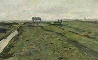 Piet Mondriaan - Polder landscape with irrigation ditch and fence - A220 - Piet Mondrian, catalogue raisonné.jpg