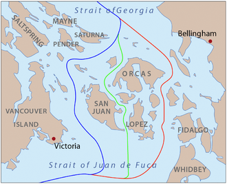Geoffrey Hornby - Map of the proposed boundaries between the United States and Canada around the San Juan Islands during the Pig War