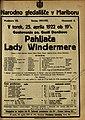 Plakat za predstavo Pahljača Lady Windermere v Narodnem gledališču v Mariboru 25. aprila 1922.jpg