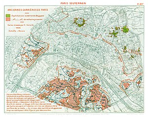 Catacombs of Paris - Map of former underground mine exploitations in Paris (1908).