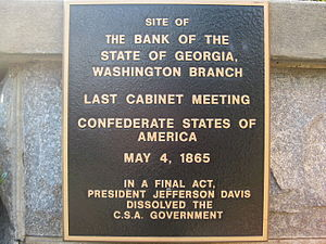 Wilkes County Courthouse (Washington, Georgia) - Plaque at Wilkes Courthouse noting final meeting of the C.S.A. government.