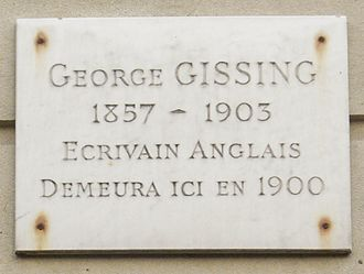 """George Gissing - Commemorative plaque, 13 Rue de Siam, Paris 16th: """"George Gissing, 1857–1903, English writer, lived here in 1900"""""""