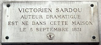 Victorien Sardou - Commemorative plaque at the house in the 4th arrondissement, where Sardou was born