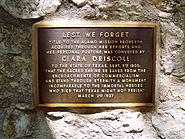 Plaque in remembrance of Clara Driscoll, the Alamo, San Antonio, Texas, June 4, 2007