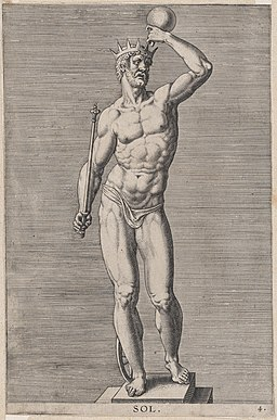 Plate 4- Apollo; statue of the nude god standing on a socle, wearing a crown and holding a scepter in his right hand and an orb in his left; from 'Statues of Roman Gods' after Jacques Jonghelinck MET DP874723